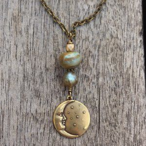 """""""Gold dust"""" crescent moon necklace"""